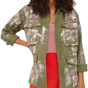 NWT TOPSHOP Ethan Metallic Green Foil Shirt Jacket